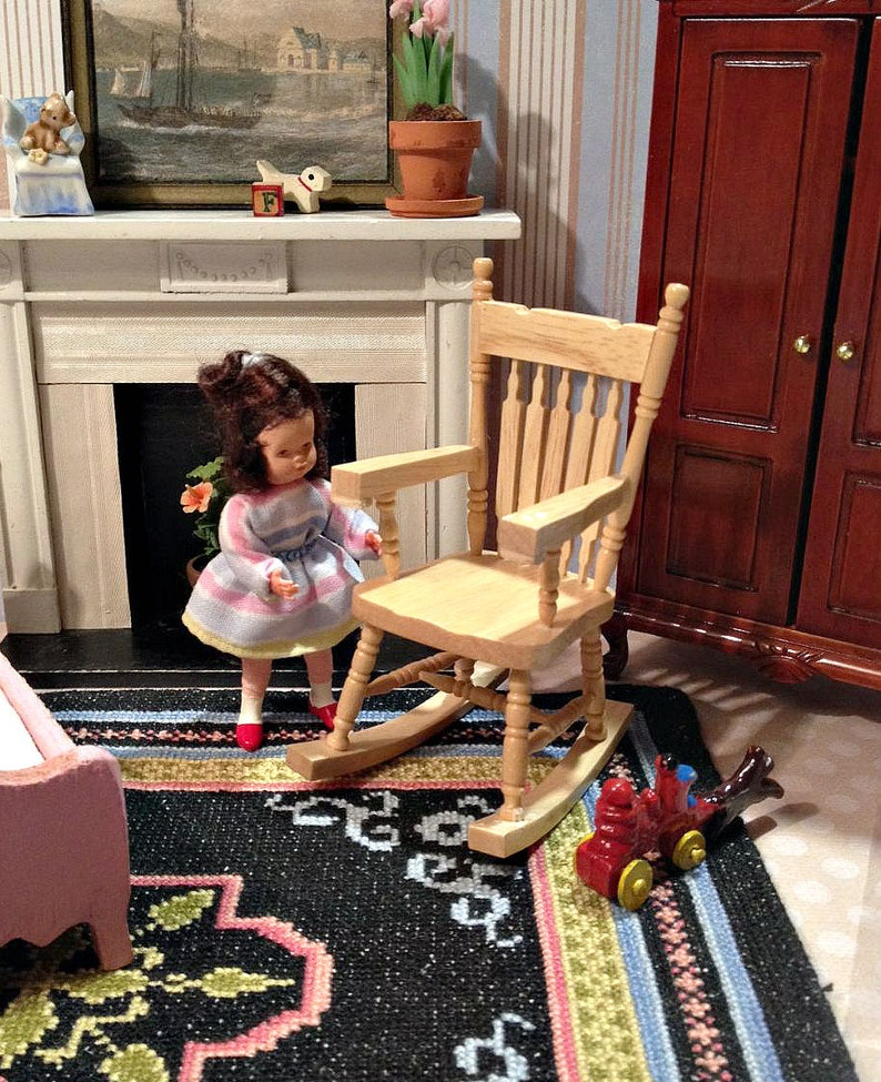 Awesome Miniature Oak Rocking Chair Vintage Victorian Style For 1 12 Dollhouse Beatyapartments Chair Design Images Beatyapartmentscom
