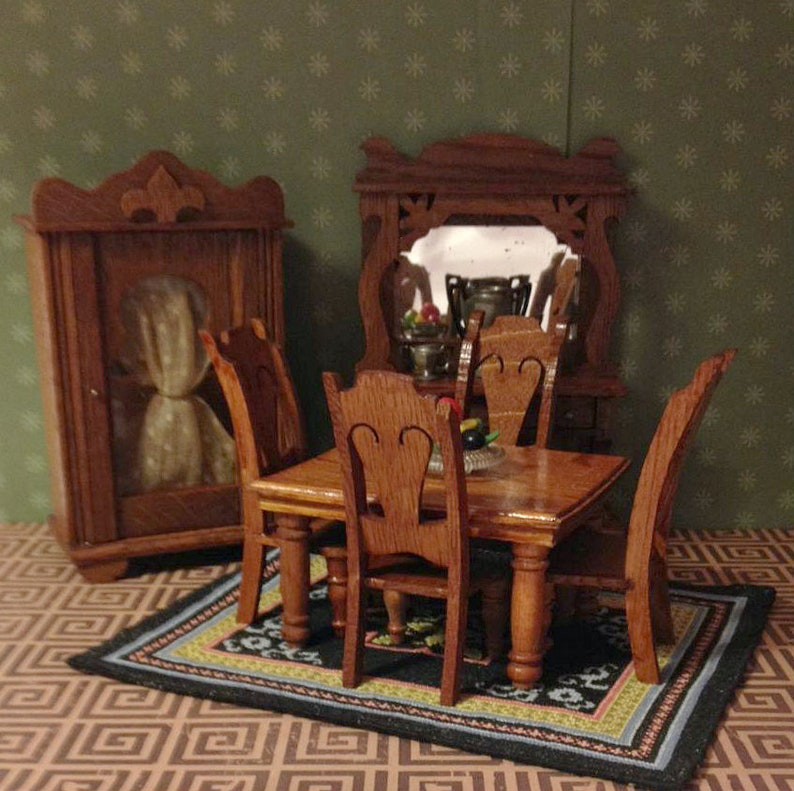 Antique Miniature Dining Room Set Star Novelty Buffet China