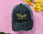 BRIDE Trucker Cap, Distressed Bride Trucker, Denim Trucker Hat, Bachelorette Party Tucker Hat, Bridal Trucker Cap, Bride Gift, Bride Squad