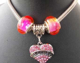 """Fancy bracelet European beads """"Teacher"""" pink version: teacher gift idea"""