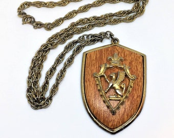 "Gold Coat of Arms Necklace Funky Wood 2 1/4"" pendant 24"" chain Retro"