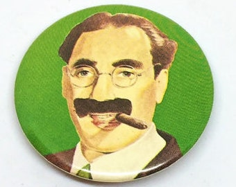 Vintage Groucho Marx Pin Green 1 3/4 inch Collectible