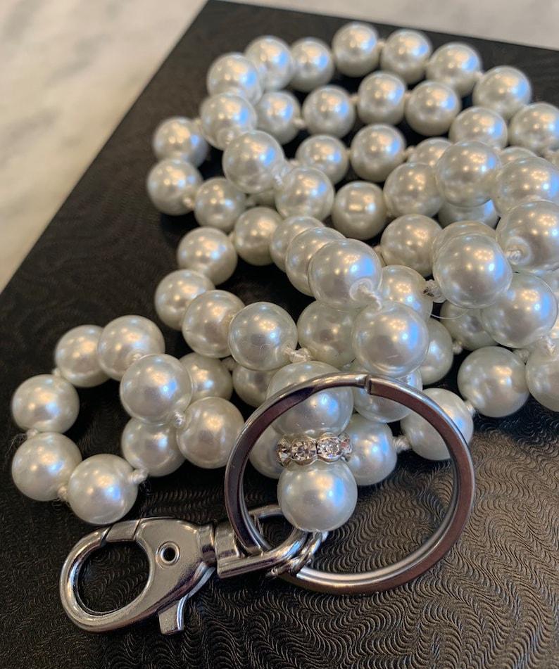 Glass Pearl Lanyard 36\u201d Solid Better Quality Pretty Lustre. Rhinestone Header