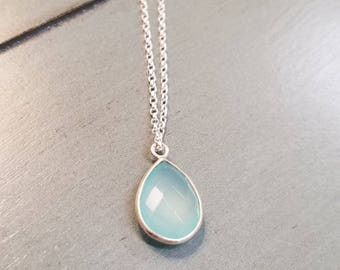 Sterling Silver Aqua Chalcedony Gemstone Necklace / Chalcedony Necklace / Chalcedony Jewelry / Aqua Chalcedony Necklace