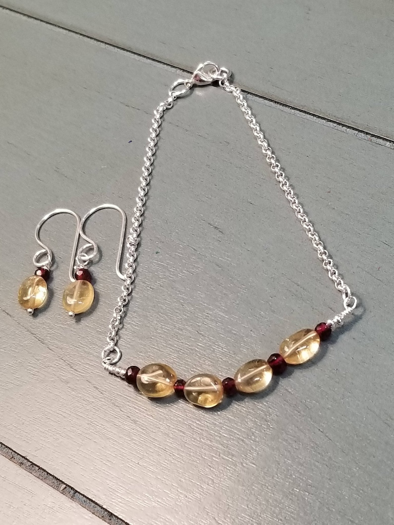 Sterling Silver Citrine and Garnet Earrings and Bracelet  Citrine Earrings  Citrine Jewelry  Citrine   Necklace  Citrine Jewelry