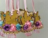 Unicorn flower baby shower pacifier/unicorn flower baby shower favors/unicorn flower baby shower necklace game/unicorn flower baby shower(10