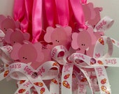 Elephant pink baby shower pacifier/elephant pink baby shower necklace game/elephant pink baby shower favors/elephant pink baby shower
