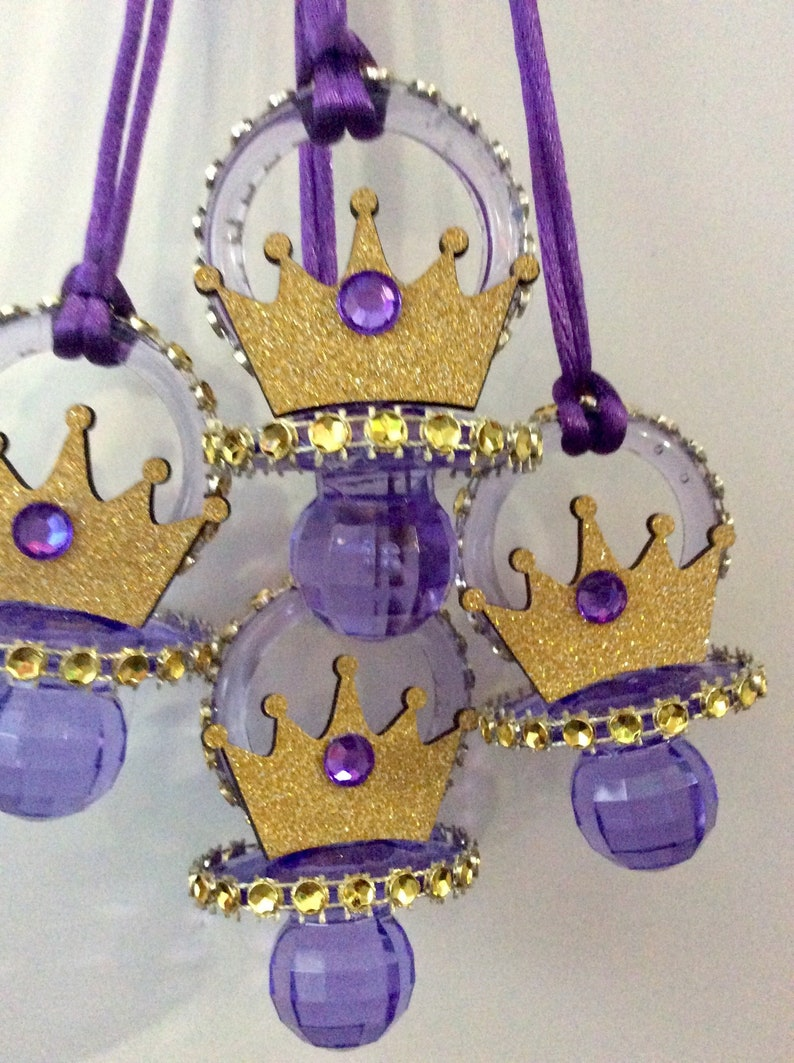 Purple prince baby shower pacifierpurple prince baby shower favorspurple prince baby shower necklace gamepurple prince baby shower 10 pcs