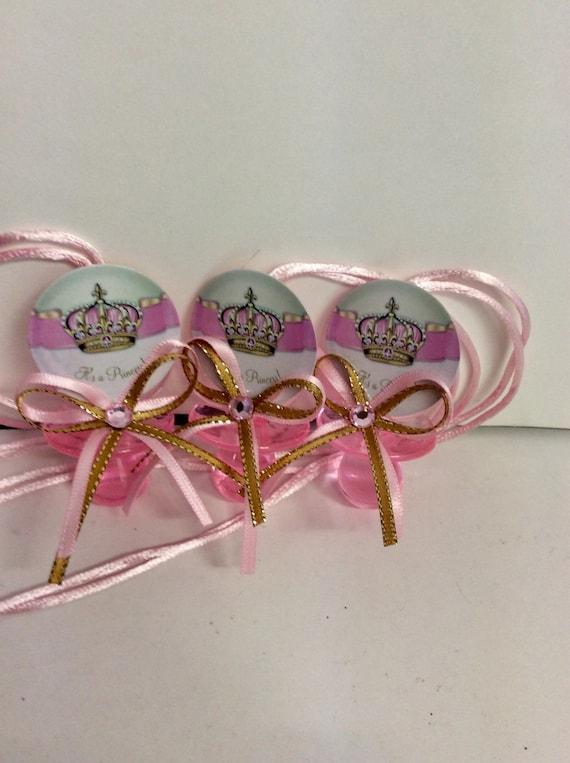 12pcs Princess Baby Shower Bottle Favors Pink /& Gold Crown