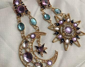 Sun & Moon Chandelier Pendant Earrings - Boho Style
