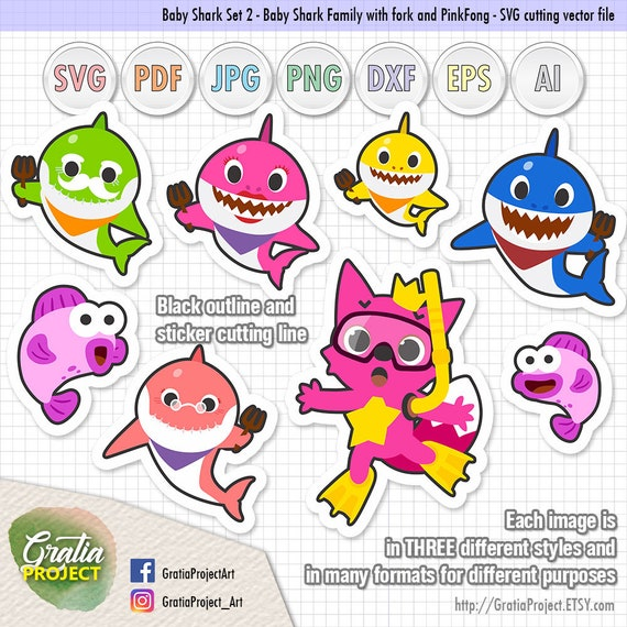 Baby Shark PinkFong Clipart set 2 Artworks SVG Cutting