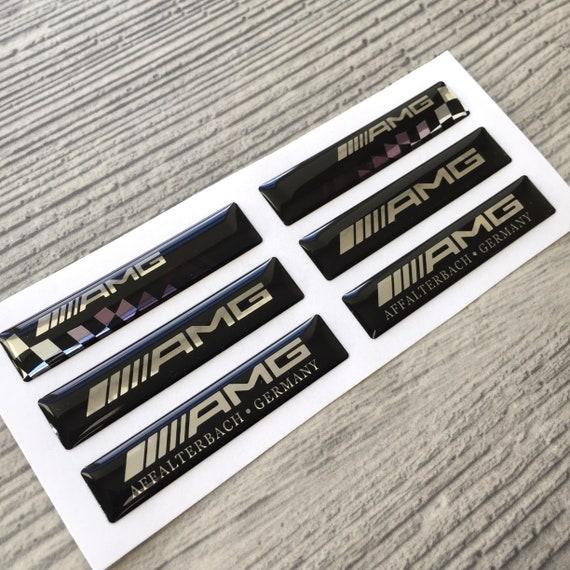 "Read description Black Silver 4pcs Mercedes AMG 19/"" Rims 3D Domed Stickers."