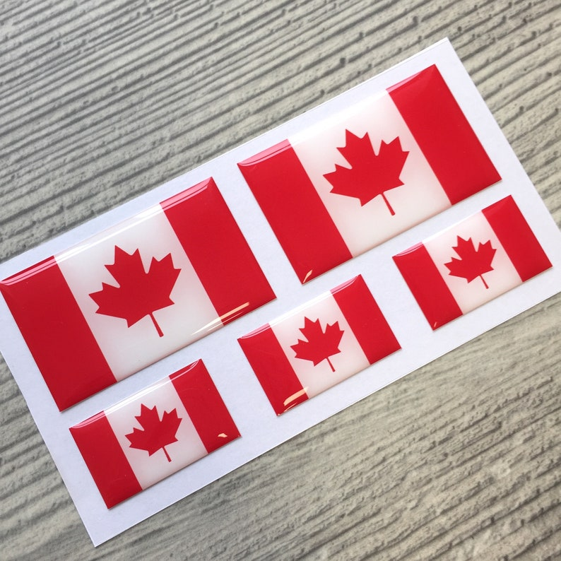 Canada Flag 3d Epoxy Resin Domed Stickers VW Audi BMW Porsche Mercedes