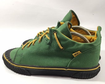 5199034b43 Ultra Rare Vintage Vans Made In USA 154067 Size 12 Mens Gren Black Yellow.  Condition is Pre-owned.