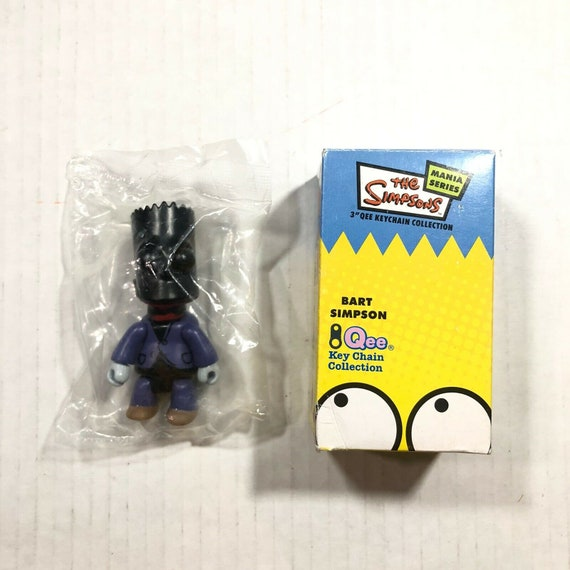 """Bart Simpson 3/"""" Qee Keychain Collection Black and White Bart"""