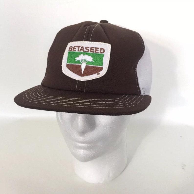 8bba41187 Vtg Betaseed Trucker Hat Snapback Brown Farming Beta Seed Cap Patch Dead  Stock!