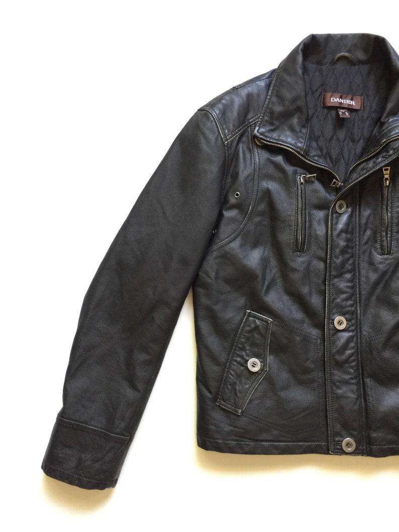 Danier Black Leather Moto Racer Cafe Jacket Quilted Interior Distressed Medium