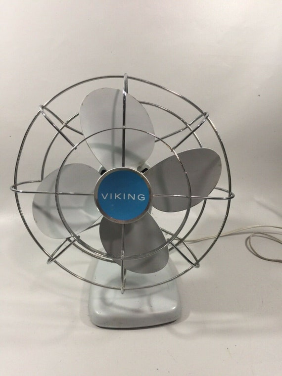Vintage Viking Model 4398 Industrial Metal Blade Electric Table Fan