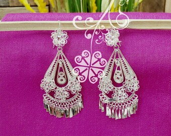 Floral Earrings Traditional Mexican Earrings Handmade Earrings Gift for Her. Mexican Wedding Earrings Mexican Artisan Earrings