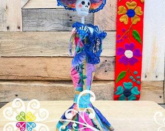 Medium Paper Mache Day of the Dead Decor - Catrina Statue - Mexican Catrina