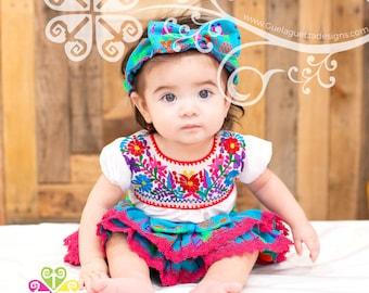 Baby Girl Mexican Set - 5 de Mayo Outfit - Mexican Primavera Set
