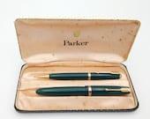 Vintage Parker Dufold pen set forest green original Parker poker dot case 1960s
