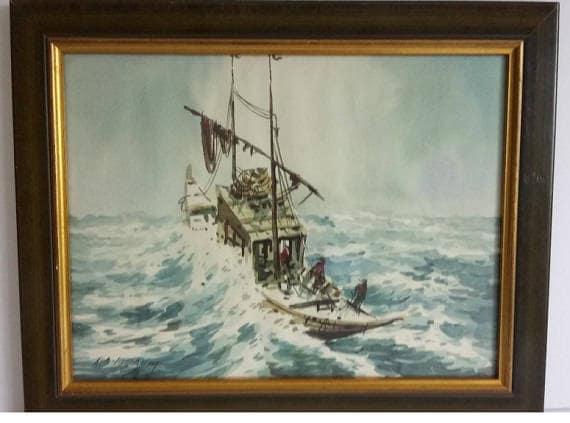 Original Signed Malaysian Watercolor A.B Ibrahim fisherman Hut Village