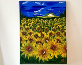 Original Oil Wall Painting Sunflower Painting Landscape Painting On Canvas Unique Gift Sunflower Field Yellow Blue Picture 30*40 cm