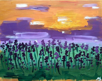 Original Oil Painting Lavender Field Landscape Painting on Canvas Abstract Modern Painting Purple Orange Painting 30*40cm by Maria Bukharova