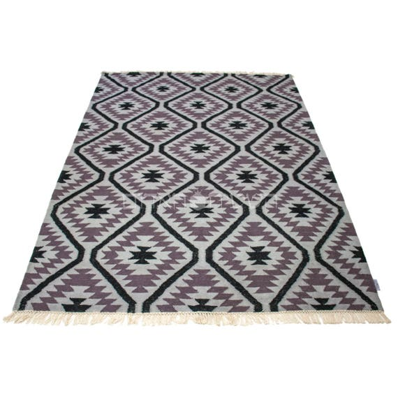 Black And White Geometric Rugs For Sale: SALE Purple Geometric Gray Black Rug Handmade Geometric