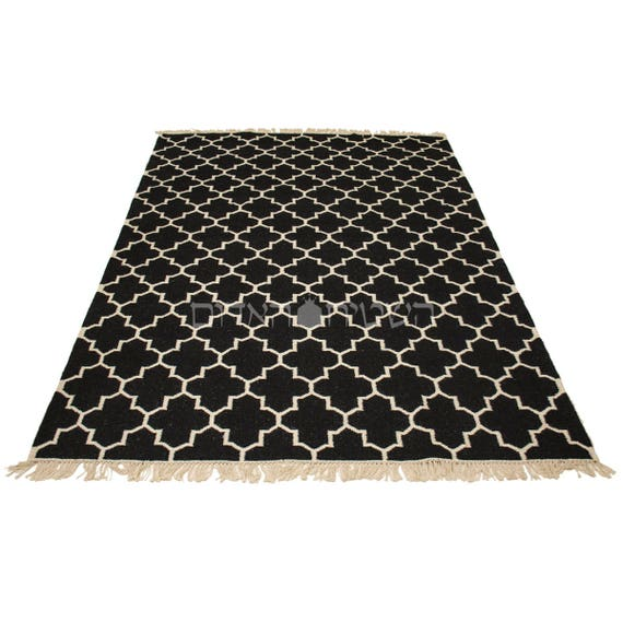 Sale Black Geometric White Rug Handmade Geometric Kilim