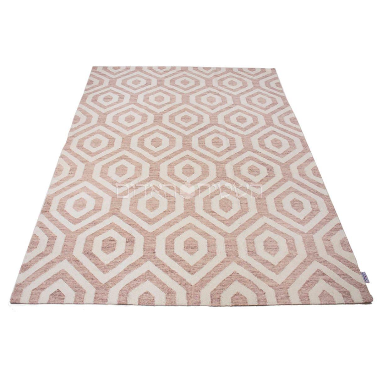 Sale Pink Kilim White Rug Handmade Geometric Kilim Carpet