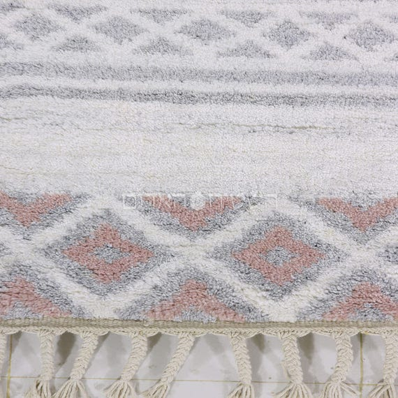 SALE Pink Berber Gray Handmade Moroccan Style Wool Rug