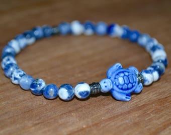 Ceramic Blue Turtle Pendant  Beaded Bracelet