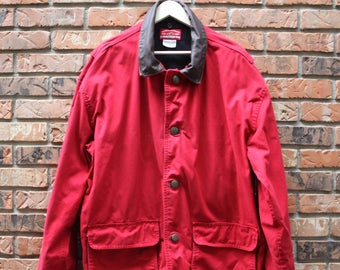 Vintage Marlboro Winter Jacket With Leather Trim And Plaid Zip Out Liner Men's Large