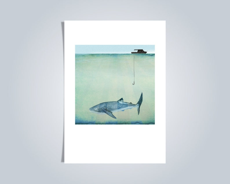Whale Shark Illustrated postcard Blank card animal A6 image 0