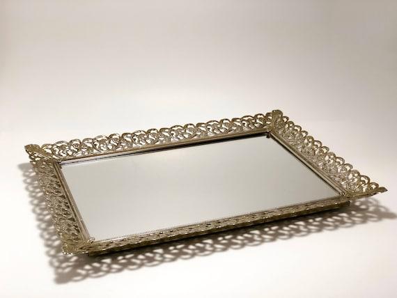image 0 - Antique Vanity Tray Filigree Mirrored Tray Vintage Tray Etsy
