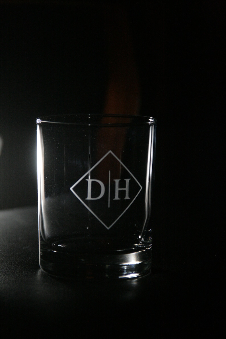 Whiskey Glass With Initials Gift For Dad Personalized Whiskey Glass Personalized Groomsmen Etched Initial Whiskey Glass Groomsmen Gifts