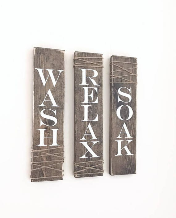 Rustic Bathroom Signs Set Of Three Rustic Bathroom Decor Etsy