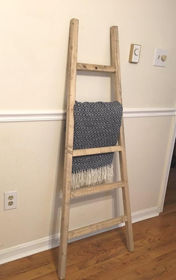 Rustic Reclaimed Wood Blanket Ladder Towel Rack Blanket Etsy