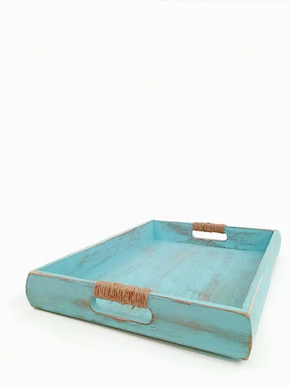 Nautical Wooden Serving Tray Coastal Ottoman Tray Aqua Etsy