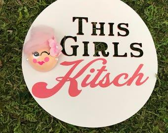Winkin' Brooch. Wood Brooch. Girl Pin. Kitschy Pin.