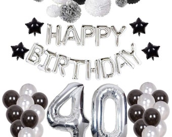 Silver 40th Birthday Decorations Black Party Happy Banner Balloons