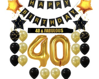 40 Number Balloons 40th Birthday Decorations Party Supplies Gift Men Women Sash Happy Banner Gold