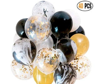 40 Black Agate Marble Balloons Party Gold Confetti White Latex Pink