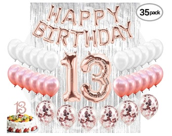 Teenager Party Decorations 13th Birthday Cake Topper 31st Supplies Balloons Banner