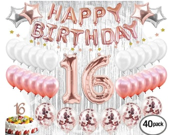 16th Birthday Decorations Party Supplies Sweet 16 Balloons Rose Gold Confetti Cake Topper Metallic