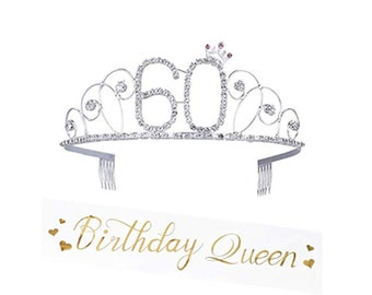 60th Birthday Crown Tiara Party Decorations Satin Sash Silver
