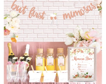 1882c41f492 Rose Gold Mimosa Bar Sign Banner Decorations Bridal Shower Bubbly Bar  Champagne Brunch Baby Shower Wedding Engagement Birthday Party Fiesta