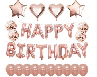 Rose Gold Party Decorations Happy Birthday Balloons Supplies Foil Confetti